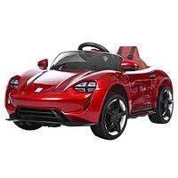 Детский электромобиль Porsche M 3453 EBLRS-3 вишневый, мягкие колеса, кожаное сиденье и автопокраска