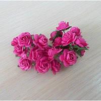 Розы темно-розовые, 10шт, 1,5см