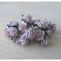 Розы пастельно-сиреневые светлые, 10шт, 1,5см