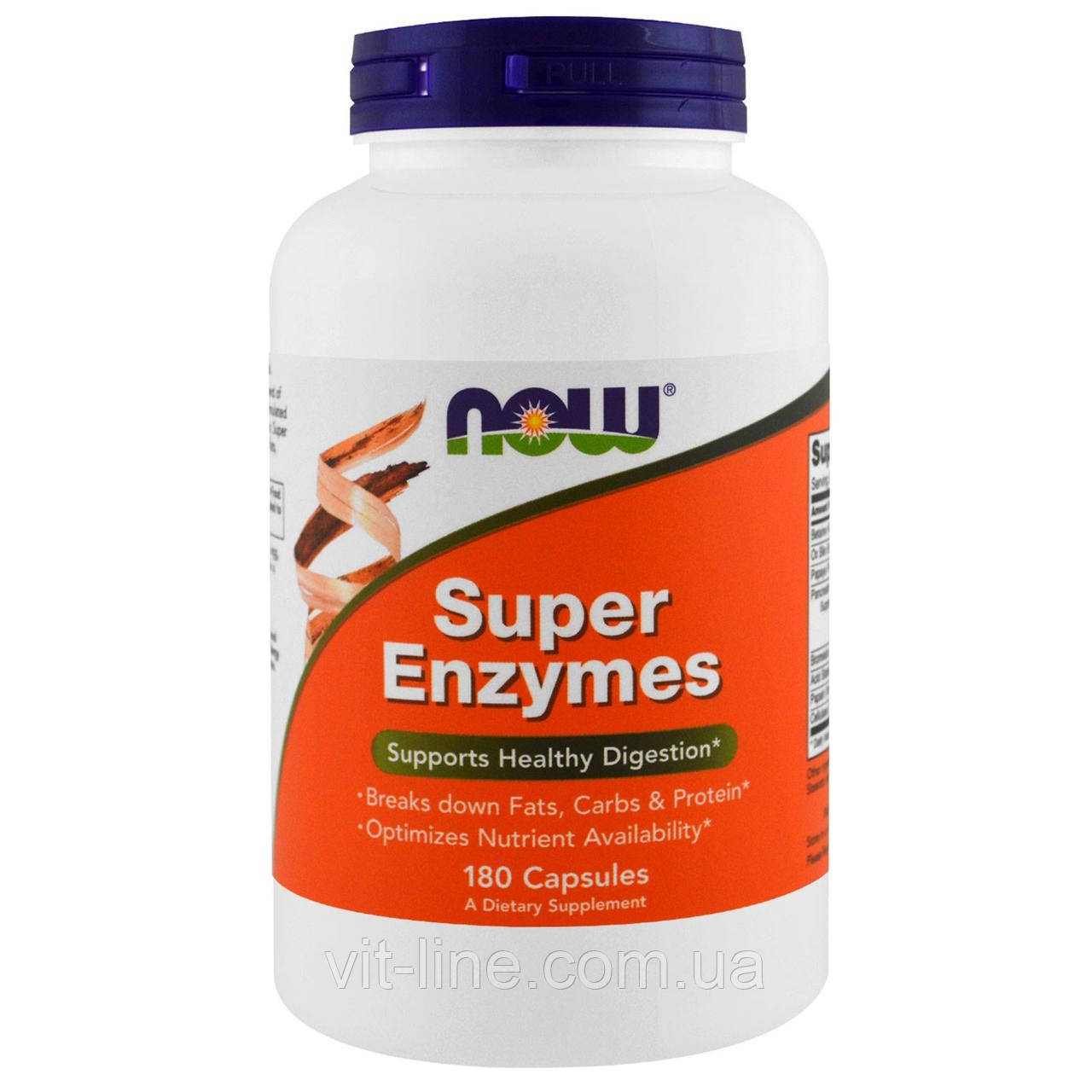 Now Foods,Super Enzymes  Суперферменты, 180 капсул