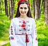 """Сорочка вышиванка для девушек """"Маки колоритні"""" с длинным рукавом"""