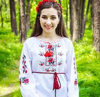 """Сорочка вышиванка для девушек """"Маки колоритні"""" с длинным рукавом , фото 1"""