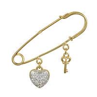 Серебряная булавка с фианитами Загадка любви 000025859