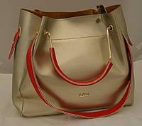 Женская золотистая сумка-шопер B.Elit с отстёгивающейся косметичкой и красными ручками