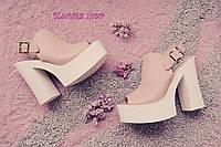 Женские кожаные босоножки (мюли) на высоком каблуке цвет: светло розовые, черные 37