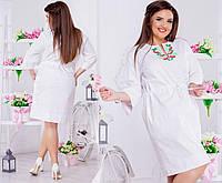 Женское платье - туника, ткань лен. Размер 44-46, 48-50, 52-54, 56-58. В наличии 2 цвета