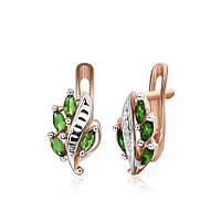 Серебряные серьги с зеленым цирконием Тамуна 000024558
