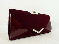Вечерний клатч темно-бордовый велюр/лак, сумочка Rose Heart 002, расцветки