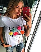 Женская летняя футболка с цветами, Лав