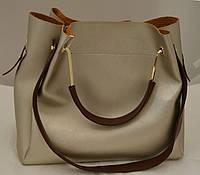 Золотистая женская сумка-шопер B.Elit с отстёгивающейся косметичкой и коричневыми ручками
