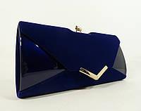 Вечерний клатч синий велюр/лак, сумочка Rose Heart 002, расцветки