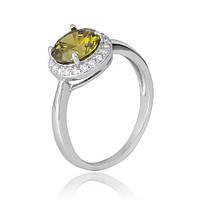 Серебряное кольцо с зеленым фианитом Афсана 000028381 19 размера