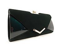 Вечерний клатч темно-зеленый велюр/лак, сумочка Rose Heart 002, расцветки, фото 1