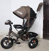 Детский трехколесный велосипед T-362 Camaro с фарой и надувными колесами, Коричневый