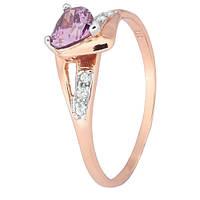 Позолоченное серебряное кольцо с фиолетовым цирконием Страстная любовь 000028197 19 размера