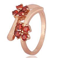 Позолоченное серебряное кольцо с красными фианитами Пора цветения 000028201 17 размера
