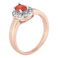 Позолоченное серебряное кольцо с красным фианитом Эсперанса 000028203 17 размера