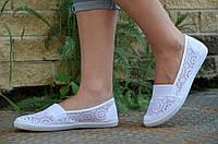 Мокасины, балетки летние женские текстиль белые удобные, практичные (Код: 739)