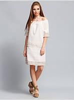 Платье прямого силуэта выполнено из льняной ткани, с горловиной на кулиске и коротким рукавом, р. 44 код 2937М