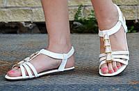 Босоножки, сандали женские на резинке белые искусственная кожа, подошва полиуретан 2017