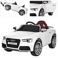 Детский электромобиль Audi RS5 М3468 EBLR-1 белый, мягкие колеса и кожаное сиденье