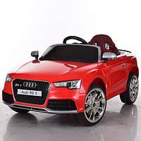 Детский электромобиль Audi RS5 М 3468 EBLR-3 красный, мягкие колеса и кожаное сиденье