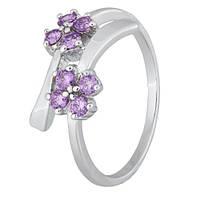 Серебряное кольцо с фиолетовыми фианитами Пора цветения 000028125 17 размера