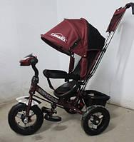 Детский трехколесный велосипед T-362 Camaro с фарой и надувными колесами, Бордовый