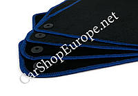 Коврики АУДИ А4 (8Е, В7) (2004 - 2008) чёрные окантовка синяя, 7 мм