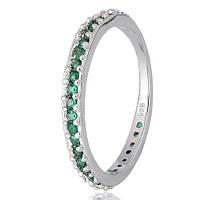 Серебряное кольцо Рувайда с зеленым цирконием 000028132 19.5 размера