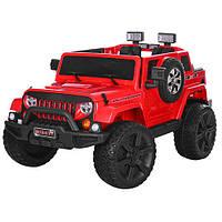 Детский электромобиль Джип Jeep M 3445 EBLR-3 красный, мягкие колеса и кожаное сиденье