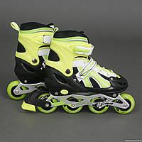"""Ролики 2002 """"М"""" Best Rollers /размер 35-38/ цвет-САЛАТОВЫЙ (6) колёса PVC, переднее колесо со светом, в сумке, d=7см"""