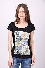 Принтованая женская черная футболка