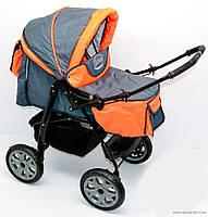 Коляска трансформер для детей Viki / 86- C 16, серо-оранжевый