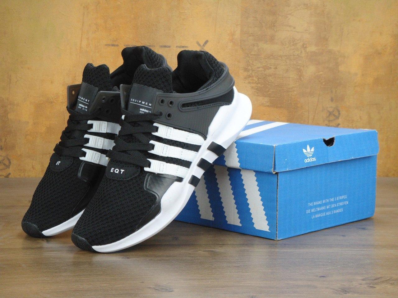 Кроссовки Adidas EEQT Support ADV black/white. Живое фото. Топ качество! (Реплика ААА+)