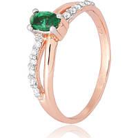 Позолоченное серебряное кольцо с зеленым цирконием Лалит 000028210 19.5 размера