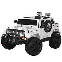 Детский электромобиль Джип Jeep M 3445 EBLR-1 белый, мягкие колеса и кожаное сиденье