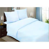 Двуспальное постельное белье из сатина нежно голубого цвета