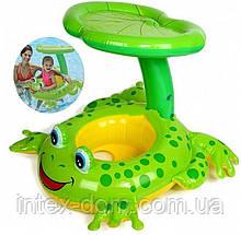 """Детский надувной круг для плавания с сиденьем и навесом INTEX 56584 """"Лягушка"""