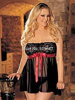Пеньюар черный с красной лентой 46-50