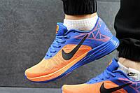Мужские кроссовки Nike LunarLaunch, синие с оранжевым / кроссовки мужские Найк Лунар Лаунч, сетка, модные