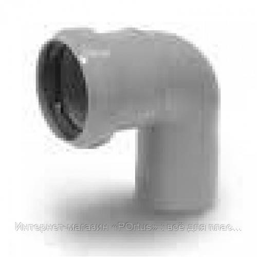 Отвод (колено) 40х90º ПП Европласт с раструбом и уплотнительным кольцом для внутренней канализации серый