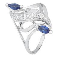 Серебряное кольцо с синими фианитами Альфия 000028156 17.5 размера