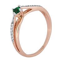 Позолоченное серебряное кольцо с зеленым фианитом Балет 000028215 17 размера