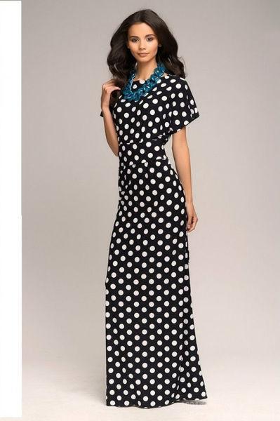 bcef0df325c Длинное прямое трикотажное платье в пол в горох   продажа