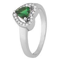 Серебряное кольцо Mon Amour с зеленым фианитом 000028321 19.5 размера