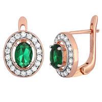 Позолоченные серебряные серьги с зелеными фианитами Вистилия 000029151