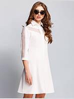 Платье приталенного силуэта выполнено из хлопковой ткани, с отложным воротником, рукавом 3/4, р.46 код 2976М