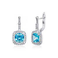 Серебряные серьги с голубыми фианитами Назира 000029099