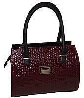 Бордовая каркасная женская сумка B.Elit с текстурой рептилии
